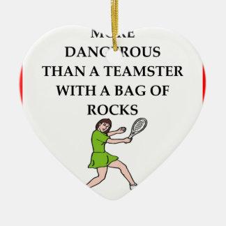 badminton ornement cœur en céramique