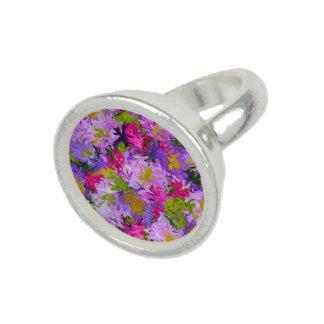 Bague Avec Photo Bouquet d'anneau rond de conception d'art abstrait