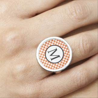 Bague Avec Photo OrangeCheckerboard