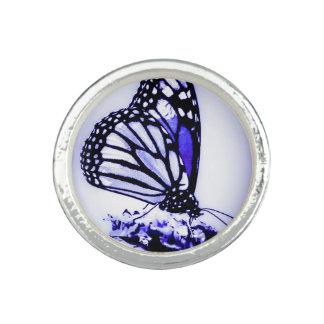 Bague Avec Photo Papillon de monarque, bleu -