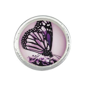 Bague Avec Photo Papillon de monarque, pourpre