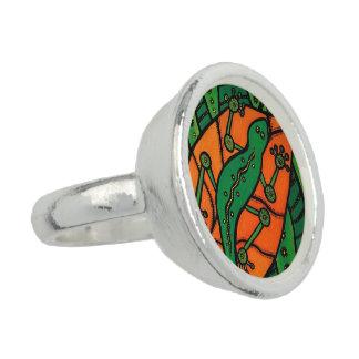 Bague Vert et orange de Gecko