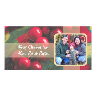 Baies de houx et carte photo de famille de ruban photocarte