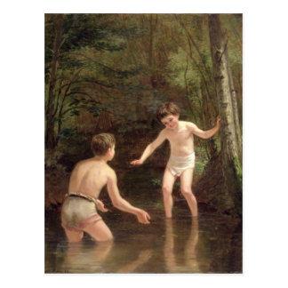 Baigner des garçons, 1873 carte postale