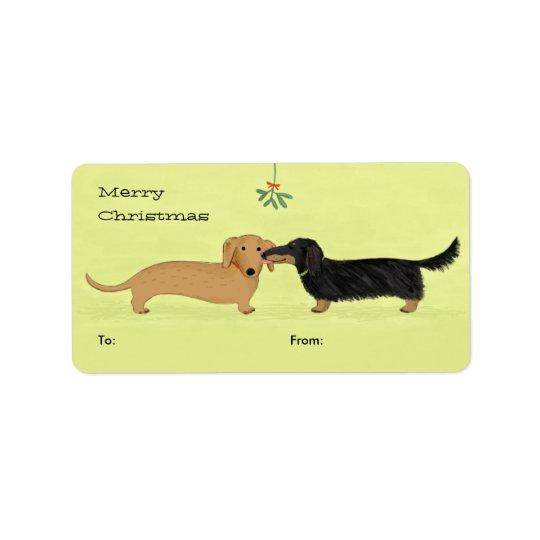 Baiser de gui de teckel - Noël de chien de Étiquette D'adresse