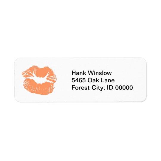 Baiser orange de rouge à lèvres étiquette d'adresse retour