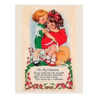 Baiser vintage de Valentine Cartes Postales
