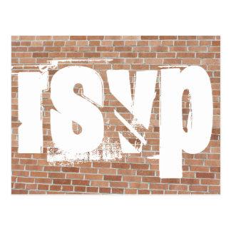 Bakstenen muur Graffiti RSVP Briefkaart