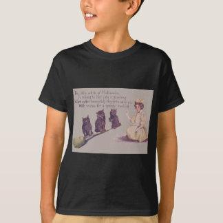 Balai de chat noir de sorcière t-shirt