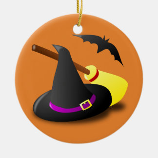 Balai et batte de casquette de sorcière de ornement rond en céramique
