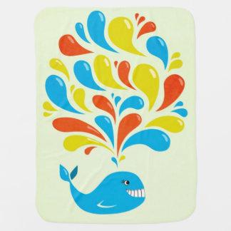 Baleine heureuse de bande dessinée d'éclaboussure couvertures pour bébé