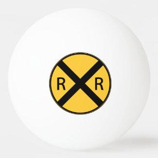 Balle De Ping Pong Croisement de route de chemin de fer de panneau