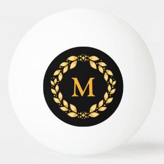 Balle De Ping Pong Monogramme romain Leaved d'or fleuri de guirlande
