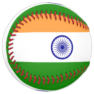 Balle De Softball Le base-ball patriotique avec le drapeau de l'Inde