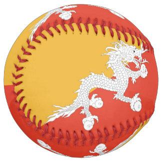 Balle De Softball Le base-ball patriotique avec le drapeau du Bhutan