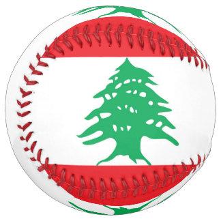 Balle De Softball Le base-ball patriotique avec le drapeau du Liban
