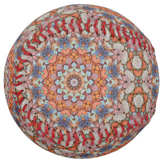 Balle De Softball Le base-ball vintage de kaléidoscope de routes
