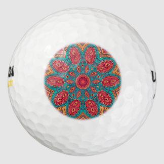 Balles De Golf Beau motif orange turquoise rose de zen