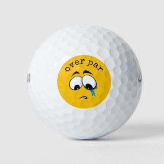 Balles De Golf Emoji jaune triste
