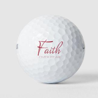 Balles De Golf Foi au-dessus d'encouragement de crainte en rouge