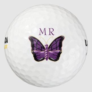 Balles De Golf Papillon pourpre décoré d'un monogramme