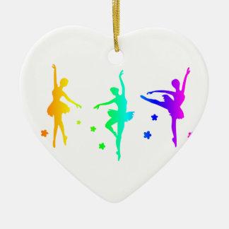 Ballet d'arc-en-ciel ornement cœur en céramique