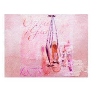 Ballet rose vintage de danseuse de ballerine d'aqu cartes postales