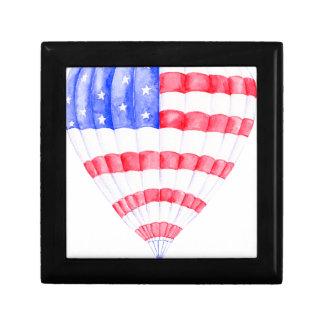 Ballon à air de drapeau américain d'aquarelle boîte à souvenirs