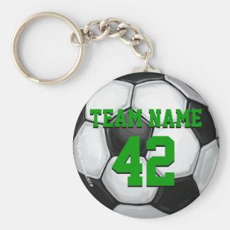 Ballon de football de nom et de nombre d'équipe porte-clé rond