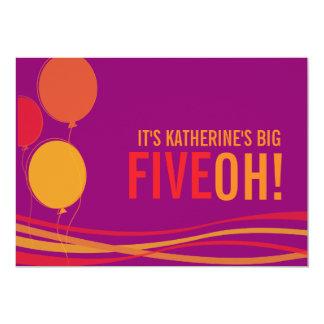 Ballon vijftigste FIVEOH! de foto verjaardag Kaart