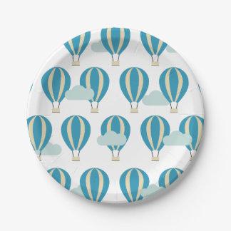 Ballons à air chauds bleus turquoises assiettes en papier
