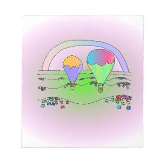 Ballons à air chauds d'arc-en-ciel blocs notes