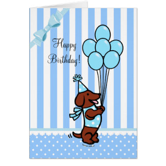 Ballons de bande dessinée d anniversaire de teckel cartes