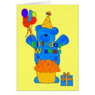 Ballons de gâteau d'ours de joyeux anniversaire carte de vœux