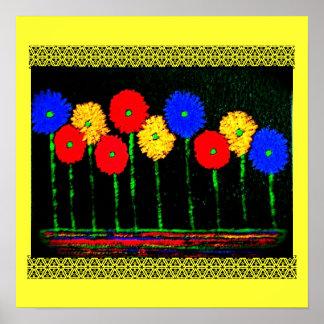 Ballons et affiche de fleurs