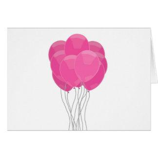 Ballons roses carte de vœux