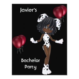 Ballons rouges blancs de noir de fille de carton d'invitation 10,79 cm x 13,97 cm