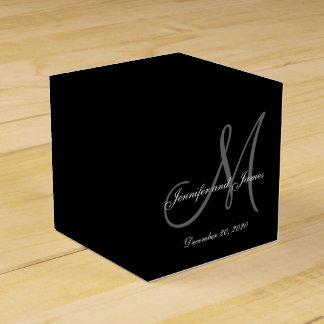 Ballotin de mariage de monogramme coloré par noir boite faveurs de mariage