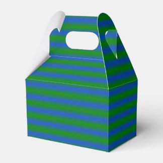 Ballotin rayé vert et bleu boite de faveur