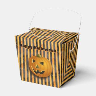 Ballotins Boîte rayée de Jack-o'-lantern, noire et orange de