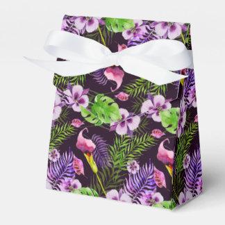 Ballotins Motif tropical pourpre noir d'aquarelle de flore