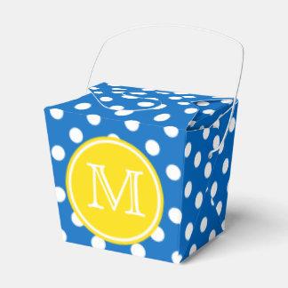 Ballotins Point de polka bleu et blanc avec le monogramme