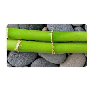 Bamboe en kiezelsteen verzendlabel