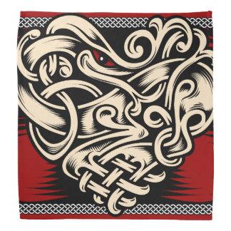 Bandana Blanc noir rouge de coeur celtique