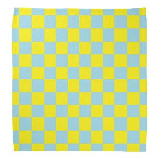 Bandana Bleu en pastel et jaune Checkered