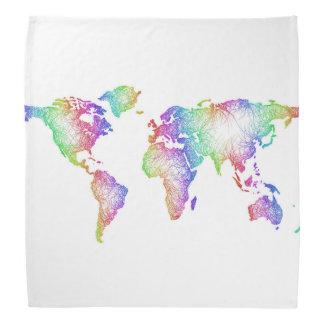 Bandana Carte du monde d'arc-en-ciel