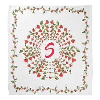 Bandana Cercles de fleur de coeurs d'amour dessus