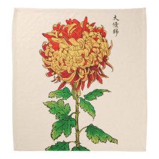 Bandana Chrysanthème japonais vintage. Or et orange