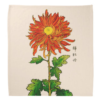 Bandana Chrysanthème japonais vintage. Orange et or