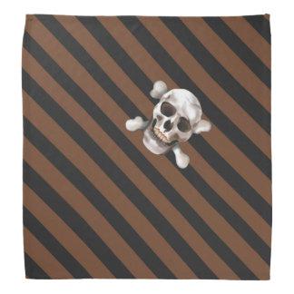 Bandana Crâne et os croisés de rayure pirate n W de Brown